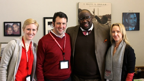 MNA nurses with Senator Jeff Hayden (DFL-Minneapolis, second from right), champion for patient safety.