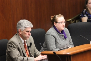 Rep. Joe Atkins and MNA member Courtney Lucht before the House Committee on Goverment Operations