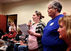 MNA nurses Cassie Hamilton, Pat Webster and Mary Turner speak up about patient safety at a town hall meeting with Sen. Alice Johnson, Sen. John Hoffman and Rep. Jerry Newton in Coon Rapids on Thursday.