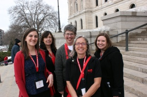 Nurses gather outside the Capitol after all day meetings with legislators.