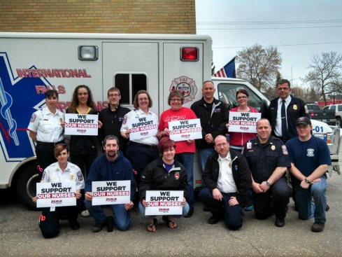 Paramedics, EMTs, and firefighters supports MNA nurses!